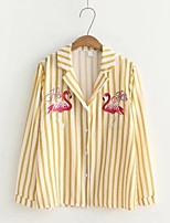 Women's Going out Casual/Daily Cute Spring Fall Shirt,Striped Print Shirt Collar Long Sleeves Cotton Others Thin Medium