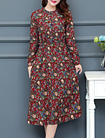 Women's Plus Size Casual/Daily Street chic Loose Swing Dress,Floral Round Neck Midi Long Sleeves Cotton Linen Fall Mid Rise Micro-elastic
