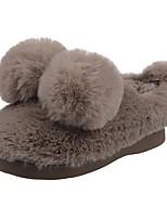 Boys' Shoes Velvet Winter Fur Lining Fluff Lining Comfort First Walkers Slippers & Flip-Flops Pom-pom For Casual Light Grey Brown Black