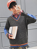 Men's Casual/Daily Regular Cardigan,Color Block V Neck Long Sleeves Cotton Fall Thick Micro-elastic