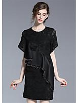 Damen Hülle Kleid-Ausgehen Lässig/Alltäglich Solide Rundhalsausschnitt Übers Knie Halbe Ärmel Polyester Sommer Mittlere Hüfthöhe