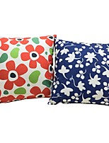 2 pcs Cotton/Linen Pillow case Bed Pillow Body Pillow Travel Pillow Sofa Cushion,Floral Mixed Color Patterned Flower Nature Inspired