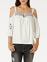 Women's Casual/Daily Sexy Summer T-shirt,Print Strap 3/4 Length Sleeves Cotton Polyester Medium