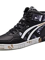 Для мужчин обувь Полиуретан Весна Осень Удобная обувь Кеды Шнуровка Назначение Повседневные Черный и золотой Черно-белый Черный/Красный