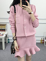 Women's Holiday Simple Spring Hoodie Skirt Suits,Solid Round Neck ¾ Sleeve Micro-elastic