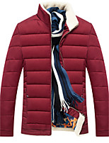 Men's Regular Padded Coat,Simple Casual/Daily Solid-Cotton Cotton Long Sleeves