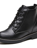 Feminino Sapatos Borracha Outono Coturnos Botas Salto Baixo Ponta Redonda Cadarço Para Preto