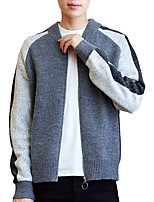 Men's Going out Casual/Daily Simple Regular Pullover,Solid Round Neck Long Sleeves Polyester Spring Fall Medium Micro-elastic