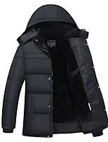 Herren Gefüttert Mantel,Standard Einfach Lässig/Alltäglich Solide-Polyester Polyester Langarm