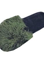Women's Shoes PU Fall Winter Comfort Slippers & Flip-Flops Flat Heel Open Toe For Casual Green Fuchsia Gray Black