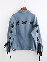 Women's Going out Simple Winter Denim Jacket,Solid Shirt Collar Long Sleeve Regular Cotton