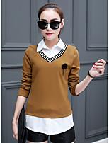 Women's Work Simple Fall Shirt,Solid Geometric Shirt Collar Long Sleeves Polyester Thin