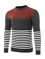 Men's Casual/Daily Simple Regular Pullover,Solid Color Block Round Neck Long Sleeves Spandex Spring Fall Medium Micro-elastic