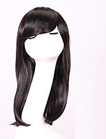 Women Synthetic Wig Capless Medium Straight Black African American Wig With Bangs Natural Wigs Costume Wig