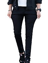 Men's Mid Rise Micro-elastic Chinos PantsSimple Straight Solid HD-8814