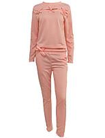 Sweat à capuche Pantalon Costumes Femme,Couleur Pleine Sortie Décontracté / Quotidien simple Actif Chic de Rue Hiver Manches longues Col