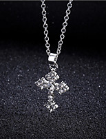 Women's Pendant Necklaces Cross Rhinestone Alloy Fashion Cross Jewelry For Party Gift