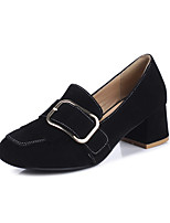 Women's Shoes PU Spring Fall Comfort Heels Chunky Heel Round Toe Buckle For Office & Career Dress Green Gray Black