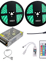 1Set  HKV® 10M(2x5m) 120W 5050SMD 600LED RGB LED Strip Light Waterproof LED Strip Mini WiFi Controller LED RGB Controller 10A Power Supply DC 12V