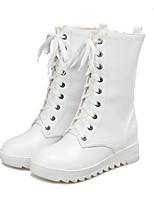 Mujer Zapatos Semicuero Otoño Invierno Botas de nieve Botas de Equitación Botas Tacón Plano Dedo redondo Mitad de Gemelo Con Cordón Para
