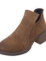 Feminino Sapatos Couro Ecológico Primavera Outono Inverno Conforto Coturnos Botas Rasteiro Ponta Redonda Para Casual Preto Cinzento