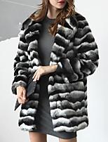 Cappotto di pelliccia Da donna Casual Taglie forti Semplice Autunno Inverno,A strisce Colletto Pelliccia sintetica Lungo Manica lunga