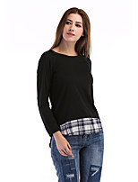 Women's Holiday Casual/Daily Simple Street chic Fall T-shirt,Check Round Neck Long Sleeves Polyester