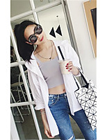 Women's Going out Street chic Spring T-shirt,Solid Round Neck Long Sleeves Others Thin