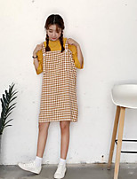Women's Going out Simple Summer T-shirt Skirt Suits,Plaid/Check Strap ¾ Sleeve