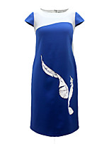 Women's Party Plus Size Going out Vintage Sheath Dress,Print Round Neck Knee-length Short Sleeves Cotton Polyester Summer High Rise