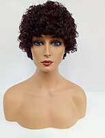 Women Synthetic Wig Capless Short Curly Brown With Bangs Natural Wigs Costume Wig