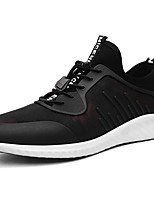 Men's Shoes PU Fabric Fall Winter Comfort Sneakers Lace-up For Casual Black/Blue Black/Red
