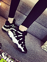 Women's Shoes PU Fall Winter Comfort Sneakers For Casual Dark Blue Black White
