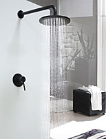 Modern/Comtemporary Shower System Rain Shower with  Ceramic Valve Single Handle One Hole for  Black , Shower Faucet