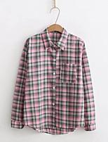 Для женщин На выход На каждый день Весна Осень Рубашка Рубашечный воротник,Простое Уличный стиль Контрастных цветов Гусиная лапка Длинный