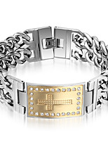 Men's Chain Bracelet Punk Rock Titanium Steel Cross Jewelry For Party Gift