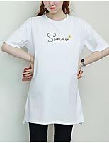 Tee-shirt Femme,Lettre Sortie Décontracté / Quotidien simple Eté Automne Manches Courtes Col Arrondi Coton Moyen