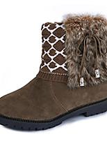 Femme Chaussures Tissu Automne Hiver Confort Bottes Talon Plat Bottine/Demi Botte Noeud Pour Décontracté Noir Kaki