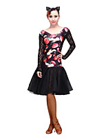 Latin Dance Dresses Women's Performance Stretch Yarn Lace Tulle 1 Piece Long Sleeve Dresses