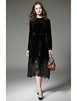 Damen Spitze Kleid-Lässig/Alltäglich Arbeit Anspruchsvoll Solide Rundhalsausschnitt Maxi Langarm Polyester Herbst Mittlere Hüfthöhe