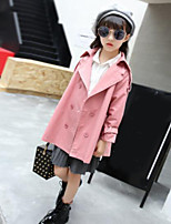 Girls' Solid Trench Coat,Others Fall
