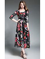 SHE IN SUN Women's Holiday Going out Vintage Street chic Swing Dress,Floral Round Neck Midi Long Sleeves Polyester All Seasons High Rise