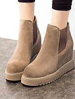 Women's Shoes Real Leather Winter Comfort Boots Flat Heel Round Toe For Casual Khaki Gray Black