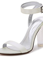 Women's Shoes Satin Spring Summer Basic Pump Ankle Strap Transparent Shoes Wedding Shoes Chunky Heel Translucent Heel Crystal Heel Round