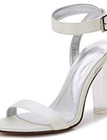 Femme Chaussures Satin Printemps Eté chaussures Transparent Escarpin Basique Bride de Cheville Chaussures de mariage Gros Talon Talon