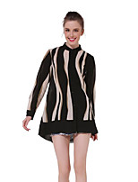 Women's Going out Simple Shirt,Solid Striped Round Neck Long Sleeves Polyester