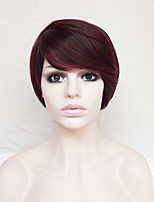 cheap -Synthetic Hair Wigs Wavy With Bangs Party Wig Natural Wigs Short Dark Red