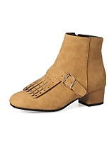 Women's Shoes PU Fall Winter Comfort Boots Chunky Heel Square Toe Tassel(s) Zipper For Outdoor Office & Career Brown Gray Black