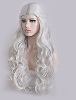 Women Synthetic Wig Capless Long Wavy Silver Plait Hair Middle Part Cosplay Wig Costume Wig