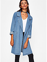 Women's Going out Casual/Daily Street chic Spring Winter Denim Jacket,Color Block Shawl Lapel Long Sleeve Regular Others Patchwork